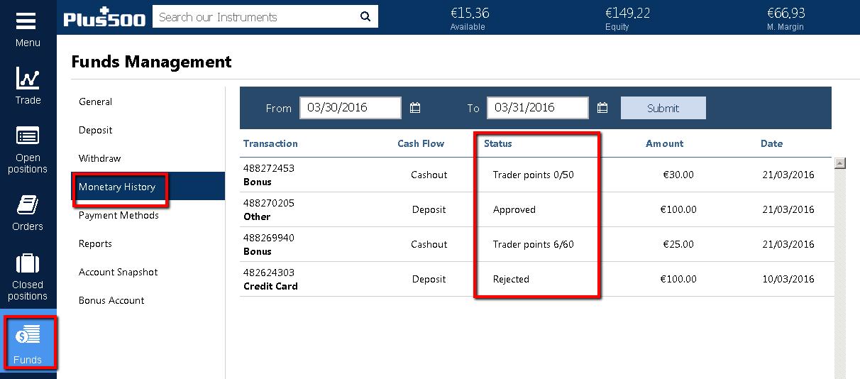 plus 500 how to withdraw money