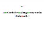 making money on stock market